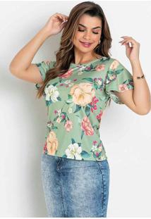 Blusa Com Amarração Floral Verde Moda Evangélica