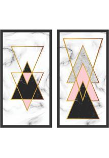 Conjunto Com 2 Quadros Decorativos Geometrico Harmonioso Colorido