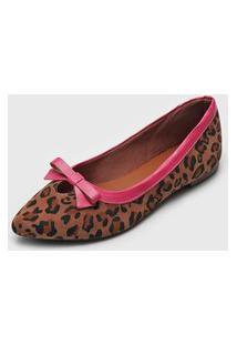 Sapatilha Dafiti Shoes Onça Bege/Rosa