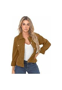 Jaqueta Bloom Jeans Sarja De Moletom Cor Camel