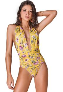 Body Empress Brasil Donna Estampa Floral Amarelo Multicolorido