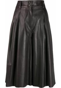 Dolce & Gabbana Calça Pantacourt Cintura Alta Com Pregas - Marrom