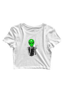 Blusa Blusinha Cropped Tshirt Camiseta Feminina Alien Paz Branco