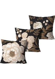 Kit 3 Capas Para Almofadas Decorativas Love Decor Floral Classic Marrom - Kanui