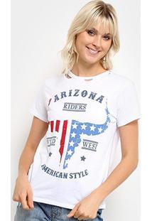 Camiseta Lez A Lez Estampada Arizona Feminina - Feminino-Branco