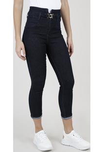 Calça Jeans Feminina Sawary Skinny Heart Cintura Alta Com Cinto Azul Escuro
