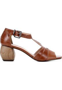 Ankle Boot Couro Shoestock Croco Salto Médio - Feminino