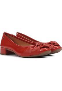Scarpin Dakota Salto Baixo Bico Quadrado Laço Nó - Feminino-Vermelho