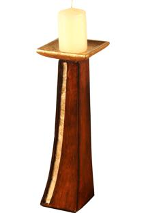 Castiçal De Madeira Oleshky Com Detalhe De Madrepérola