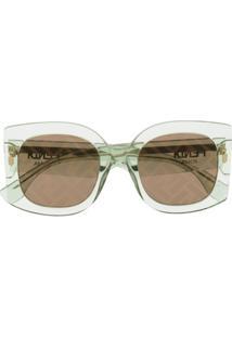 Fendi Eyewear Óculos De Sol Oversized - Verde