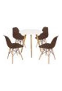 Mesa Inês 80Cm Branca + 4 Cadeiras Eames Eiffel - Marrom