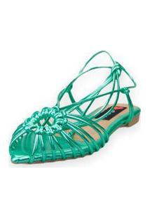 Sandalia Love Shoes Rasteira Bico Folha Amarraçáo Tirinhas Metalizadas Verde