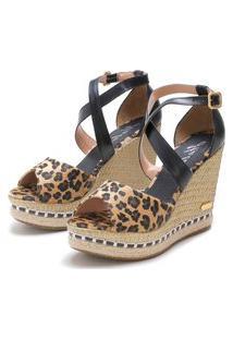 Sandália Sb Shoes Anabela Ref.3205 Onça/Preto