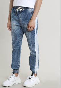 Calça Jeans Masculina Jogger Com Faixa Lateral Azul Claro