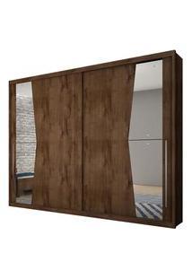 Guarda Roupa Novo Horizonte Geom C/Espelho 2 Portas Canela
