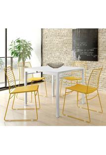 Conjunto Mesa 1525 Branca Com 4 Cadeiras 1712 Color Uv Amarelo Ouro Carraro