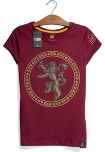 Camiseta Game Of Thrones Casa Lannister Feminina - Feminino-Vinho