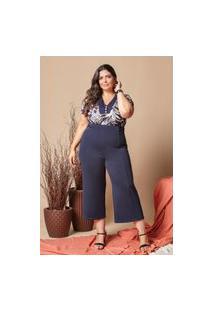 Blusa Estampada Almaria Plus Size Lilian Plus Decote V Azul Marinho