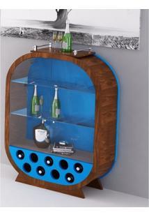 Cristaleira Decorativa / Adega - Azul E Imbuia - Tommy Design