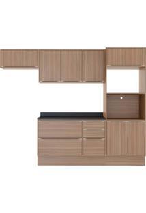 Cozinha Compacta Multimoveis Calabria 5457R Nogueira Se