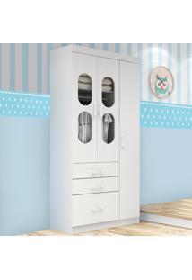 Guarda-Roupa 3 Portas 3 Gavetas Plic Plac 16D312 Branco/Azul/Rosa - Rodial