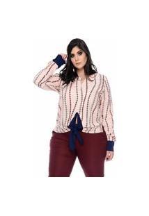 Blusa Feminina Mac-Lu Estampada Com Laço Frente Linha Premium Rose Antonella