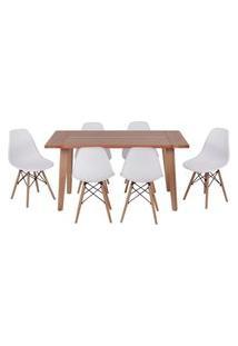Conjunto Mesa De Jantar Em Madeira 150X80 Vértice + 6 Cadeiras Eiffel - Branco
