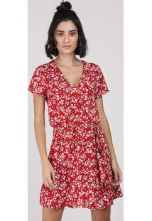Vestido Feminino Curto Estampado Floral Manga Curta Vermelho