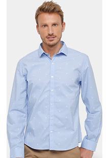 Camisa Social Ellus Slim Fit Mini Print Dente De Leão Masculina - Masculino