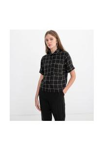 Camisa Cropped Manga Curta Estampa Xadrez Grid   Blue Steel   Preto   Gg