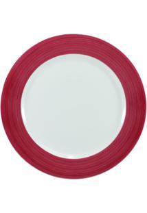 Prato Para Sobremesa Porcelana Schmidt - Dec. Cilíndrica Pintura À Mão Vermelho