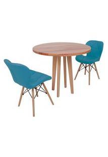 Conjunto Mesa De Jantar Em Madeira 90Cm Com Base Vértice + 2 Cadeiras Slim - Turquesa