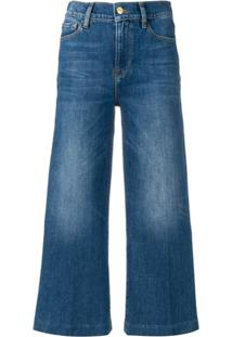 Frame Wide Leg Cropped Jeans - Azul