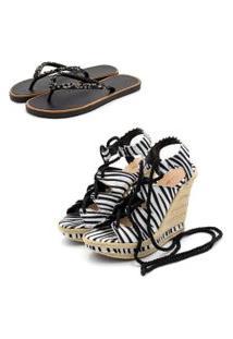 Kit Sandália Anabela Salto Alto E Chinela Rasteira Feminino Conforto Zebra