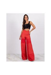 Calça Miss Misses Lurex Pantalona Com Zíper Vermelho