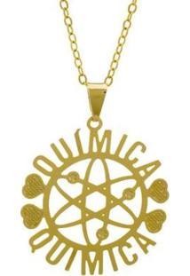 Gargantilha Horus Import Química Banhada Ouro 18K Feminina - Feminino-Dourado