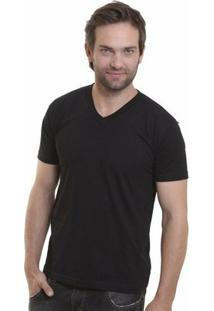 Camiseta Decote V Masculina - Masculino-Preto