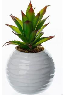 Vaso Com Suculenta Abacaxi Artificial Branco