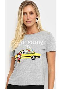 Camiseta Cativa Disney Táxi Feminina - Feminino-Mescla