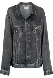 Balenciaga Jaqueta Jeans Oversized - Preto