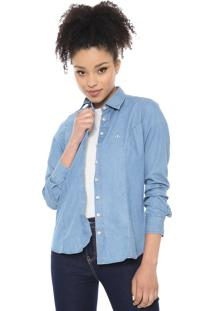 Camisa Jeans Dudalina Básica Azul