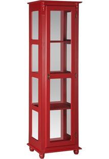 Cristaleira Com Lateral De Vidro E Espelho Vermelha