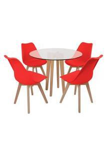 Conjunto Mesa De Jantar Em Vidro 90Cm Com Base Vértice + 4 Cadeiras Leda - Vermelho
