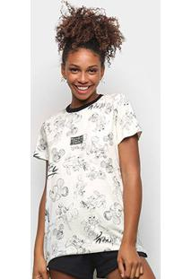 Camiseta Colcci Mickey Draw Feminina - Feminino-Branco+Cinza