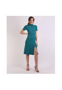 Vestido Feminino Midi Canelado Manga Curta Gola Alta Verde