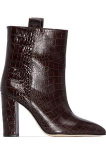 Paris Texas Ankle Boot Com Efeito Pele De Crocodilo E Salto 100Mm - Vermelho