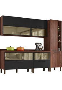 Cozinha Modulada 7 Peças Viv Concept C08 Black/Nogueira - Kit´S Paraná