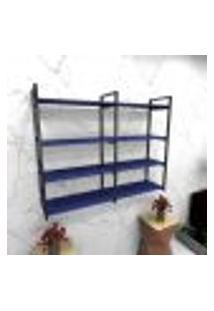 Estante Estilo Industrial Sala Aço Cor Preto 120X30X98Cm (C)X(L)X(A) Cor Mdf Azul Modelo Ind42Azsl