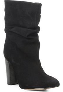 Bota Slouch Shoestock Salto Grosso Feminina - Feminino-Preto