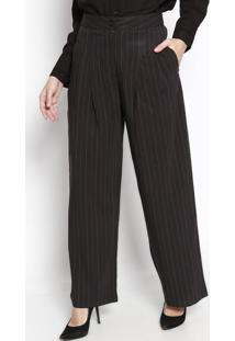Calça Pantalona Listrada Com Pregas - Preta & Vermelho Csusan Zheng